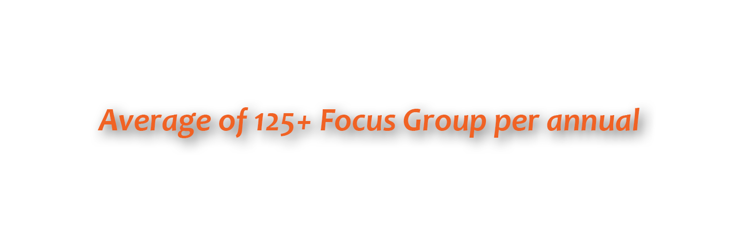 Average of 125+ Focus Group annually